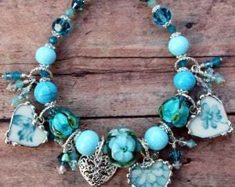Broken China Jewelry Bracelet Heart Charms Aqua Floral China Handmade Lampwork BeadsSterling Silver