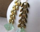 wheat brass chain and FLOURITE earrings