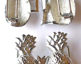 Pineapple Buckle in Silver Color w/Rhodium Plate - Front and Back  Shown - Summer Sale