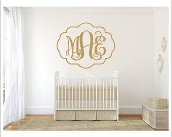 Vine Monogram Wall Decal Monogram with Border Quatrefoil Border Decorative Border Personalized Decal Nursery Bedroom Monogram Housewares