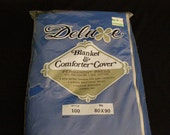 """NOS Vintage Royal Blue Blanket and Comforter Cover 80"""" X 90"""" Permanet Press 50/50 Blend Metal Zipper!"""