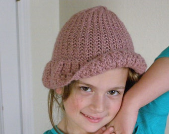 Handmade Light Rose Brimmed Summer Knit Hat Child - Girls Hat