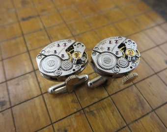 Caravelle  58W Watch Movement Cufflinks. Great for Fathers Day, Anniversary, Groomsmen or Just Because.  #559