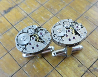 Benrus AE 13 Watch Movement Cufflinks. Great for Fathers Day, Anniversary, Groomsmen or Just Because.  #619
