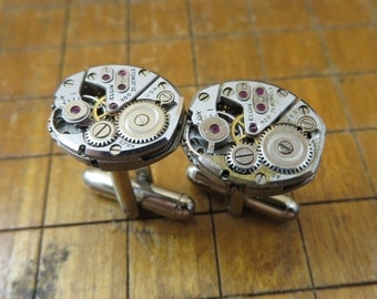 Elgin 700 Watch Movement Cufflinks. Great for Fathers Day, Anniversary, Groomsmen or Just Because.  #742