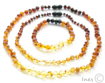 Set Of Rainbow Color Baltic Amber Baby Teething Necklace For Baby and Reminding Bracelet and Necklace for Mommy