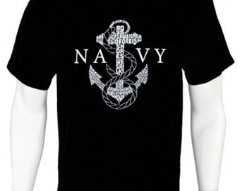 Men's U.S. Navy T-shirt - Created using the lyrics to Anchors Aweigh