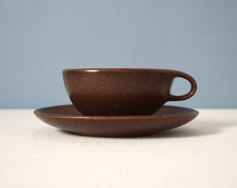 Vintage Roseville Raymor Cup and Saucer in Autumn Brown