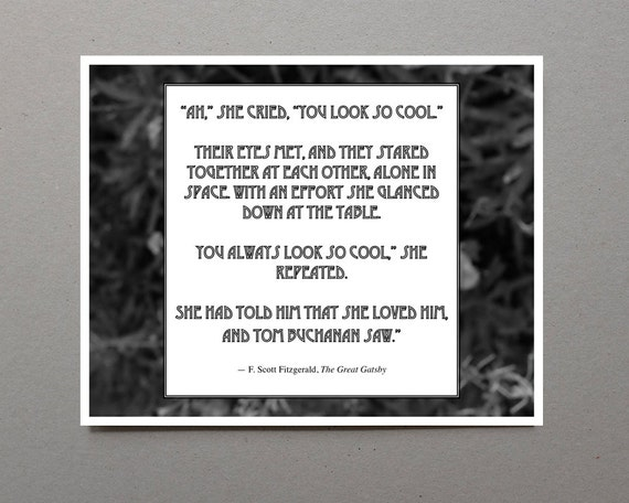 Grey Quotes in The Great Gatsby The Great Gatsby Quote Print f