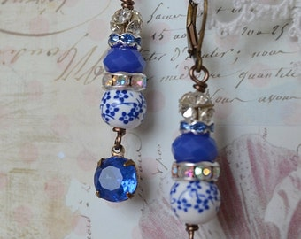 Brilliant blue floral and vintage glass dangle earrings