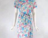Vtg 70s Floral Day Dress Belted Shift - med
