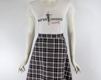Vintage 1970s A line Skirt in Black White & Red Plaid - sm
