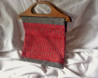 Handmade Woven Ethnic Tapestry Bag with Wooden Handles Red Navy Gray
