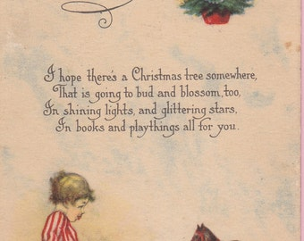 Ca. 1924 Christmas Greetings Postcard w/ Child, Toy and Tree - 160