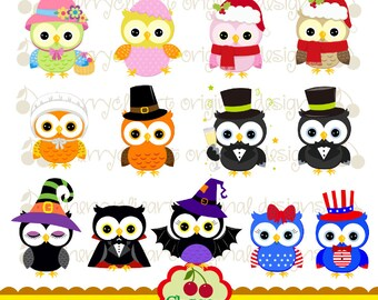 Holiday and Season Owls Digital Clipart Set 2 for -Personal and Commercial Use-paper crafts,card making,scrapbooking,web design