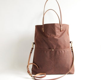 Large Waxed CANVAS Fold Over Tote Bag - MAREE - Cross Body Adjustable Leather Shoulder Straps Market Shopper Bag by Holm