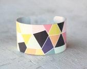 Triangles Cuff Bracelet - Colorful Cuff Bracelet - Adjustable Bracelet - Geometric Metal Cuff - Aluminum Cuff - Large Cuff Bracelet (258)
