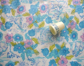 pink and blue floral print vintage cotton fabric -- 36 wide by 1 yard