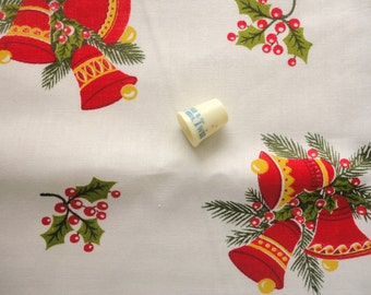 christmas bells and holly novelty print vintage cotton fabric -- 35 wide by 3 yards