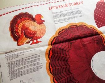 lets talk turkey cut-out print vintage cotton fabric craft panel