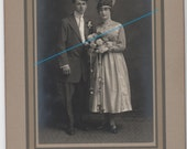 Art Deco Wedding Portrait - Original Cabinet Card of Beautifully Dressed Bride and Her Groom