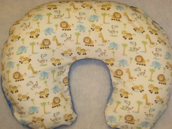 Animal Nursing Pillow : Jungle Animal MINKY Nursing Pillow Cover Blue Minky on Back