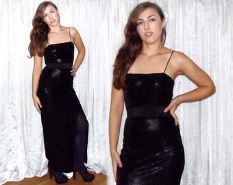 Vintage Snakeskin Maxi Dress - 90s Black Lizard Print Velour Goth Sexy Body-Con SM