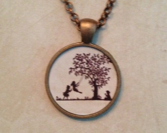 Children Swinging Glass Dome Pendant Necklace or Key Chain