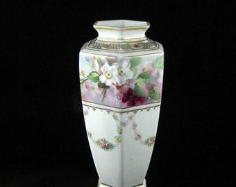 Noritake Six Panel Vase with White & Pink Blossoms - Moriage - Gilt Trim - Antique 1910s Noritake China
