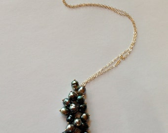 Cultured Black Tahitian Keshi Wire Wrapped Cluster Necklace - 14K yellow gold - Ready to Gift - N1155B