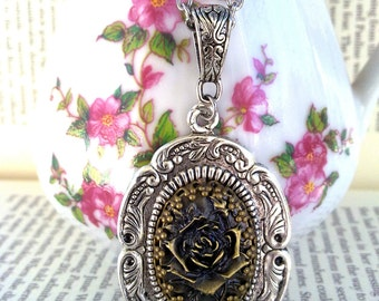 Golden Rose Pendant Cameo Necklace Gothic Necklace Victorian Necklace Metal Rose Necklace Gothic Jewelry Victorian Jewelry