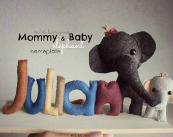 Elephant Nursery, Mama and Baby, Custom nursery decor, Baby Shower Centerpiece, New Baby Gift
