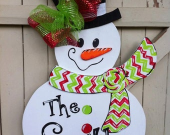 Snowman door hanger | Etsy
