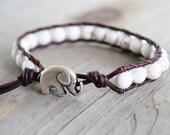lucky elephant jewelry - elephant bracelet - beaded wrap bracelet - boho jewelry wrap // brown or black leather