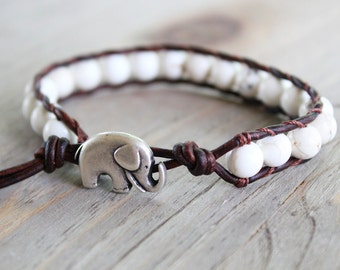 elephant bracelet, lucky elephant jewelry, beaded wrap bracelet, bohemian jewelry // brown or black leather