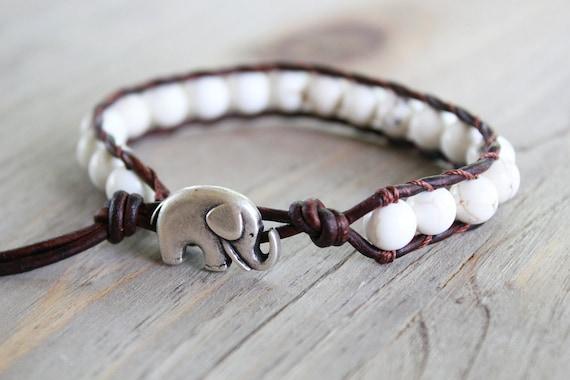 lucky elephant jewelry - elephant bracelet - beaded wrap bracelet - stocking stuffer // brown or black leather