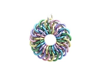 Pastel Pendant, Chain Maille Pendant, Multicolor Jewelry, Jump Ring Jewelry, Spiral Pendant, Springtime Jewelry