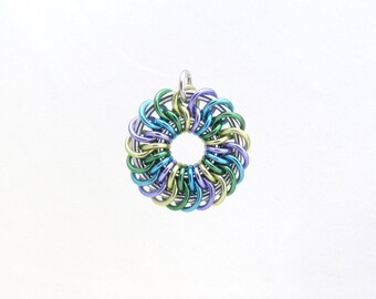 Pastel Pendant, Chain Maille Pendant, Jump Ring Jewelry, Aluminum Jewelry, Multicolor Pendant