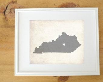 Kentucky Love State Map Customizable Personalized Map Art 8x10 Print.