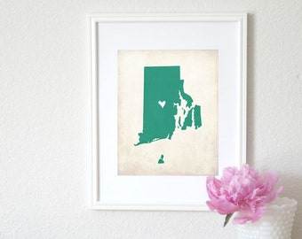 Rhode Island Rustic State Map. Personalized Rhode Island Map. Wedding Gift. Baby Shower Gift. Graduation Gift. Home Map. Art Print 8x10.