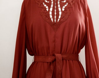 Vintage 1970's Boho Chic Flowy Chiffon Cutout Dress with Ultrasuede Trim by Jerry Silverman - Size Medium to Large