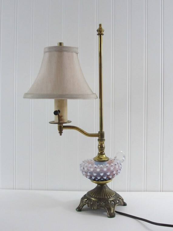 Vintage Fenton Purple Hobnail Desk Or Table Lamp Opalescent