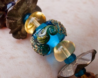 Beachy Coco Wood, Lampwork and Czech Glass Bracelet & Earring Set - FREE SHIPPING