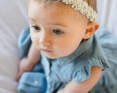 Christening / Baby Blessing Collection - Beaded and Diamond Flower crown headband
