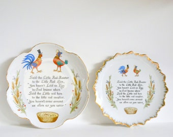 Vintage Rooster & Hen Plates. Porcelain Chicken Art Wall Hangings. 1970s set of 2.  Gold 70s Country Cottage Farmhouse Chic Farm Decor Wheat