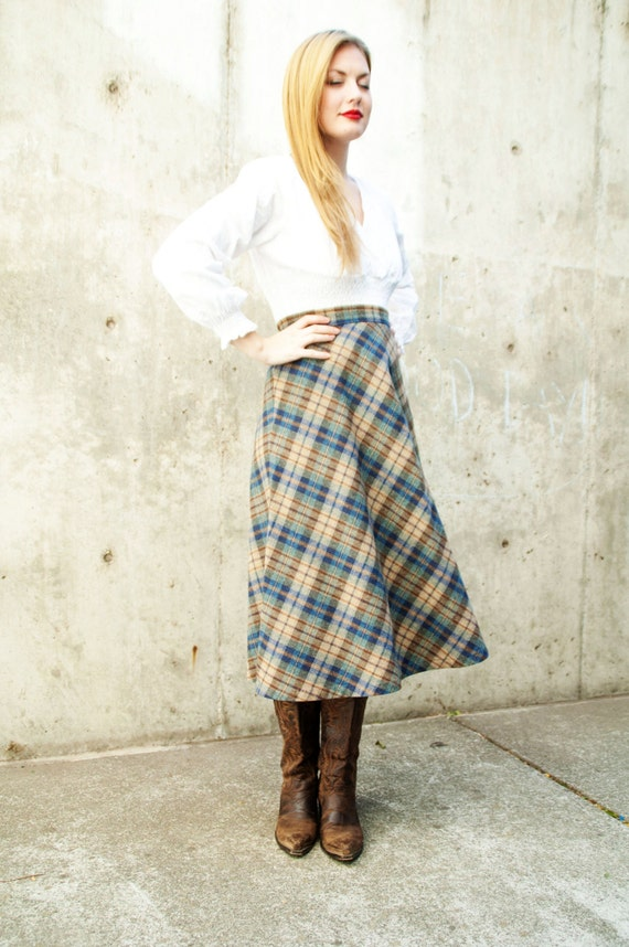 Vintage skirt blue brown wool plaid midi circle skirt high