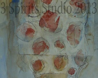 """Original contemporary mixed media drawing-  """"Hardly There (It's All In Your Head 12)"""""""