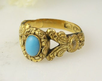 Antique Georgian 18k Yellow Gold Turquoise Engraved Ring / 18th Century