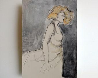 Dibujo original grande, mujer, dibujo a lápiz, dibujo original, figura femenina, bailarín de dibujo, arte lápiz de dibujo, dibujos a lápiz, moderno