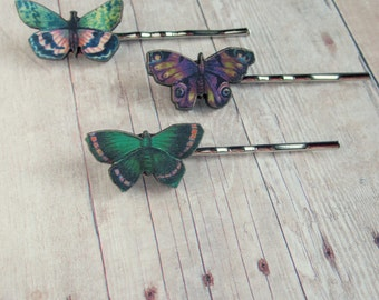 Green Pink Purple Butterfly Bobby Pin Hair Accessory